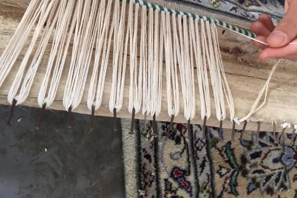 ریشه بافی فرش ها در قالیشویی